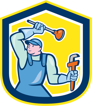 Illustration of a plumber wielding plunger and holding monkey wrench set inside shield crest on isolated background done in cartoon style. Vector