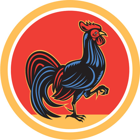 fowl: Illustration of a chicken rooster facing side marching walking set inside circle on isolated background done in retro style.  Illustration