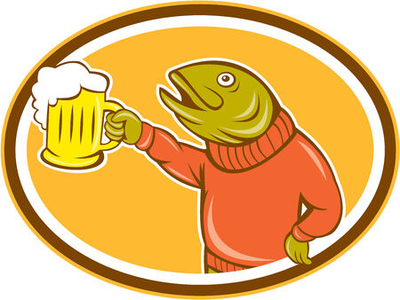 oval  alcohol: Illustration of a trout fish holding beer mug viewed from the side set inside oval on isolated background done in cartoon style.