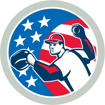 outfielder: Illustration of a american baseball player pitcher outfilelder throwing ball set inside circle with stars and stripes in the background done in retro style.