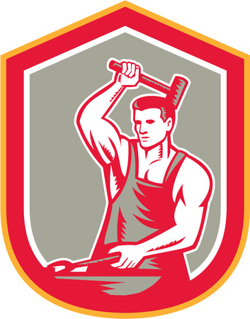 sledgehammer: Illustration of a blacksmith striking hammering pliers with sledgehammer set inside shield crest on isolated background done in retro style.