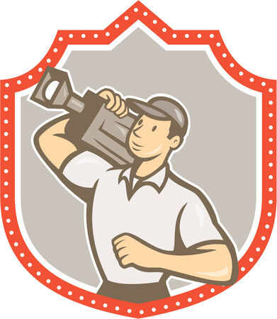 filmmaker: Illustration of a cameraman movie director holding vintage movie film camera on shoulder set inside shield crest on isolated background viewed from side done in cartoon style. Illustration