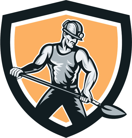 Illustration of a coal miner with hardhat on holding shovel set inside shield crest on isolated backgorund done in retro style.