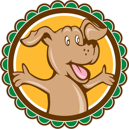 welcoming: Illustration of a dog mascot with arms out open welcome welcoming looking to the side set inside rosette shape on isolated background done in cartoon style.  Illustration
