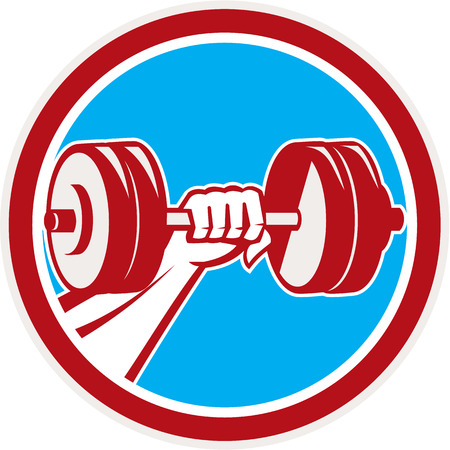 hand lifting weight: Illustration of a hand fist lifting dumbbell weight training viewed from the front set inside circle done in retro style. Illustration