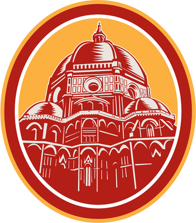 del: Illustration of the Dome of Florence Cathedral or Il Duomo in Piazza del Duomo, Firenze, Italy viewed from front set inside oval done in retro woodcut style. Illustration