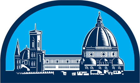 del: Illustration of the Dome of Florence Cathedral or Il Duomo in Piazza del Duomo, Firenze, Italy viewed from far set inside half oval shape,done in retro woodcut style. Illustration