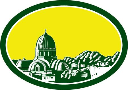 florence italy: Illustrazione della Grande Sinagoga di Firenze o Tempio Maggiore a Firenze, Italia vista dal davanti impostato all'interno ovale fatto in stile retr� xilografia.
