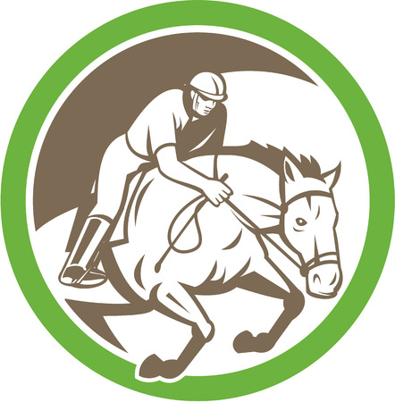 horse show: Illustration of a horse and jockey equestrian show jumping set inside circle done in retro style. Illustration