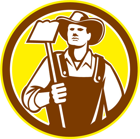 farm worker: Illustration of organic farmer holding a grab hoe facing front set inside circle done in retro woodcut style.