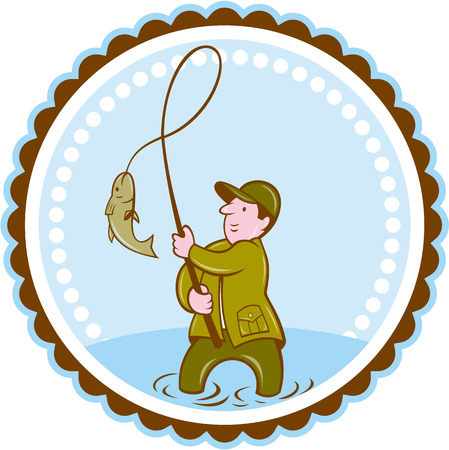 fly fisherman: Illustration of a fly fisherman with fish on reel set inside rosette shape on isolated background done in cartoon style.  Illustration