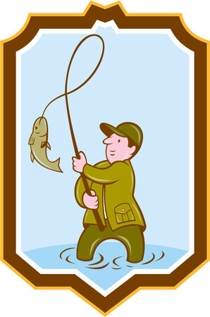 fly fisherman: Illustration of a fly fisherman with fish on reel set inside shield crest shape on isolated background done in cartoon style.