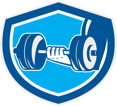 hand lifting weight: Illustration of a hand lifting dumbbell weight training set inside shield crest done in retro style.