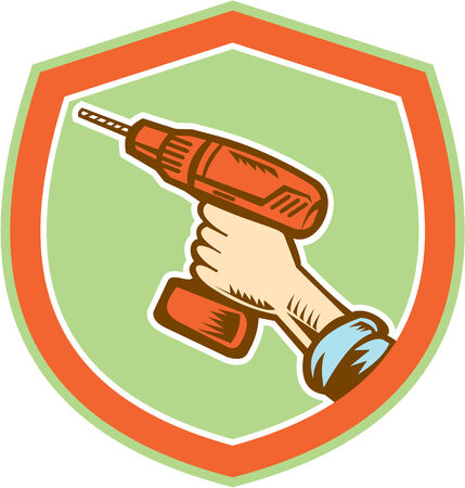Illustration of a handyman carpenter builder hand holding a cordless drill set inside shield crest shape isolated on white done in retro woodcut style. Illustration