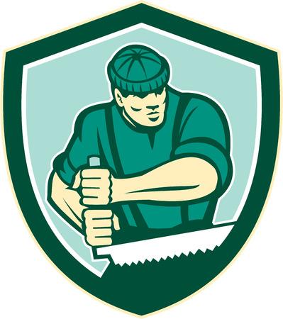 Illustration of lumberjack arborist tree surgeon sawing using crosscut saw set inside shield crest shape on isolated white background done in retro style.