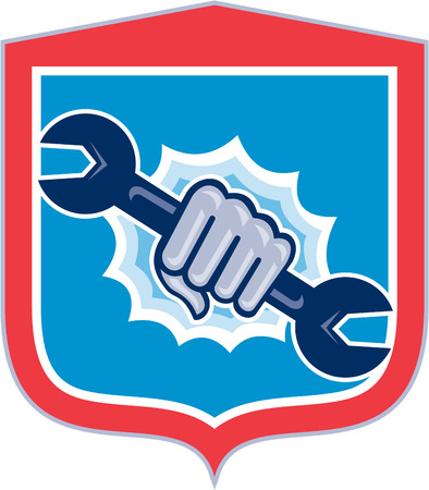 spanner: Illustration of a mechanic hand holding spanner wrench punching bursting out of circle shape viewed from front set inside shield crest on isolated background done in retro style. Illustration