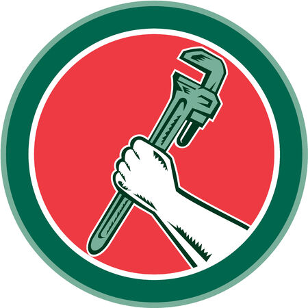 adjustable: Illustration of a hand holding an adjustable monkey wrench set inside circle on isolated background done in retro woodcut style.  Illustration