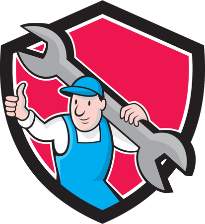 Illustration of a plumber in overalls and hat thumbs up holding monkey wrench set inside shield crest on isolated background done in cartoon style. Vector