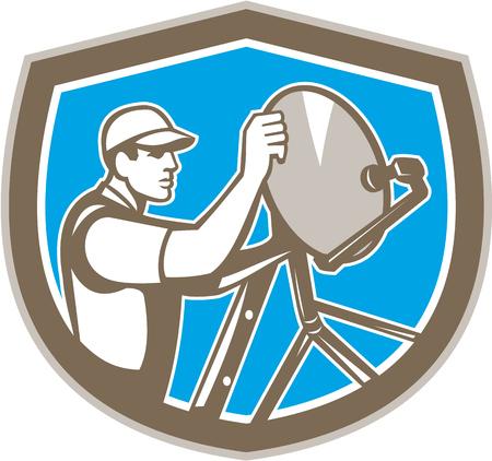 installateur: Illustratie van een televisie schotelantenne installateur set binnen schild kuif op geïsoleerde achtergrond gedaan in retro stijl. Stock Illustratie