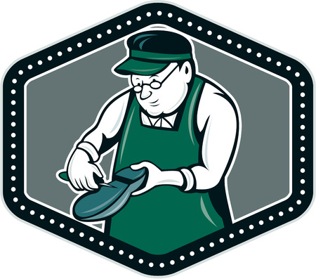 shoe repair: Illustration of a shoemaker cobbler shoe repair holding shoe working set inside shield crest on isolated background done in cartoon style.