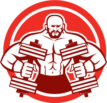 Illustration of a bodybuilder lifting dumbbell flexing muscles viewed from front set inside circle on isolated background done in retro style.