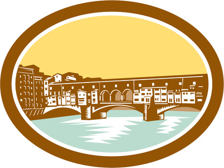 afar: Illustration of arch bridge of Ponte Vecchio in Florence, Firenze, Italy spanning river Arno viewed from afar set inside oval done in retro woodcut style.