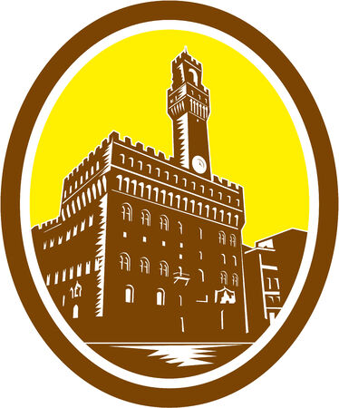 Illustration of the Tower of Palazzo Vecchio in Florence, Firenze, Italy viewed from low angle set inside oval done in retro woodcut style. Vector