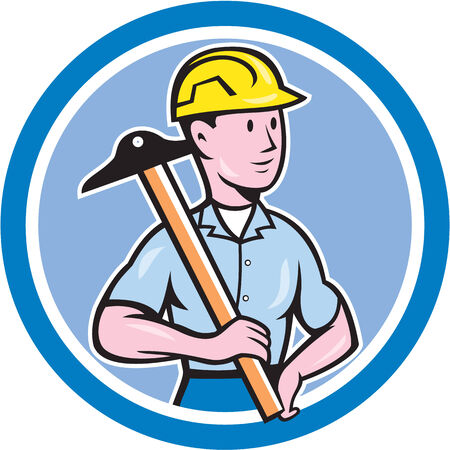 construction draftsman: Illustration of an engineer architect draftsman standing holding t-square on shoulder looking to the side set inside circle on isolated background done in cartoon style.