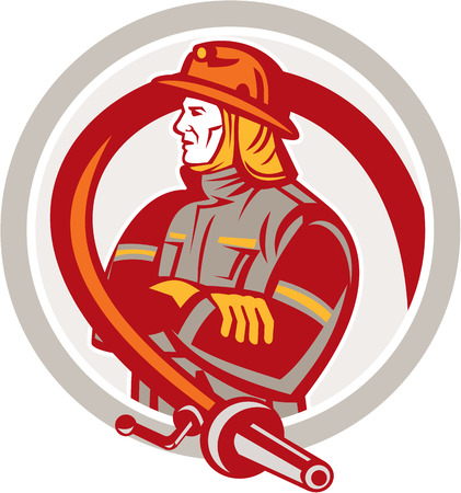 folding arms: Illustration of a fireman fire fighter emergency worker standing folding arms with fire hose viewed from the side set inside circle on isolated background done in retro style. Illustration