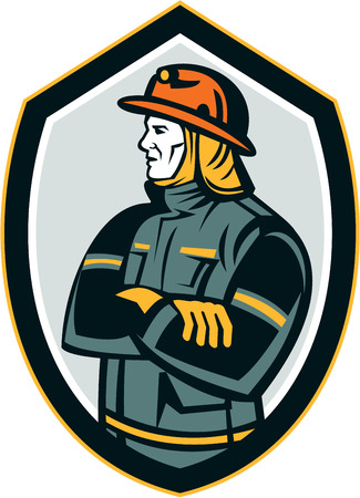 arms folded: Illustration of a fireman fire fighter emergency worker arms folded looking to the side set inside shield crest on isolated background done in retro style. Illustration