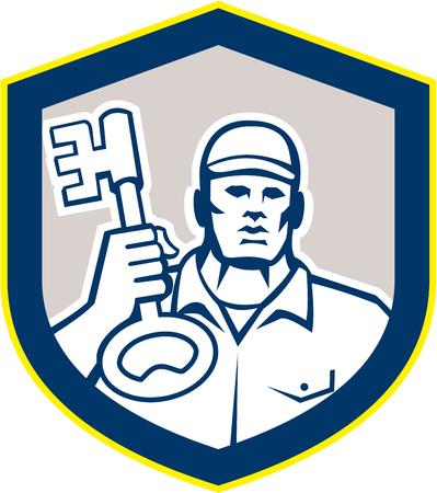 schlosser: Illustration eines Schlossers stehend nach vorne tr�gt Schl�sselsatz innerhalb Schild Wappen auf wei�em Hintergrund isoliert im Retro-Stil getan.