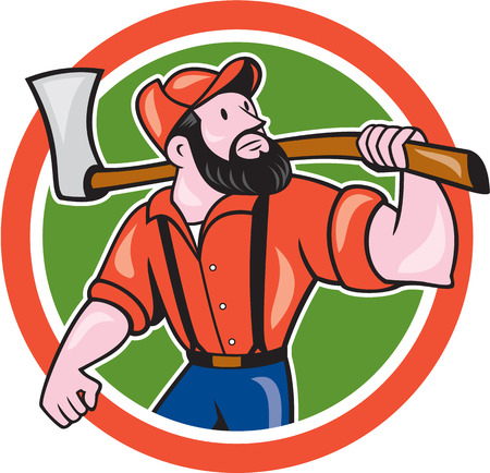 forester: Illustration of a lumberjack sawyer forester standing holding an axe on shoulder looking up to side set inside circle on isolated background done in cartoon style.