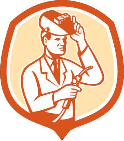 researcher: Illustration of scientist laboratory researcher chemist welder holding welding torch with helmet visor set inside shield crest on isolated background done in retro style.