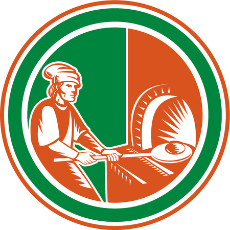 woodfire: Illustration of a baker pizza maker holding peel pan with bread dough putting in open fire woodfire oven set inside circle done in retro style.