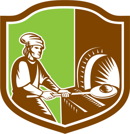 pizza maker: Illustration of a baker pizza maker holding peel pan with bread dough putting in open fire woodfire oven set inside shield crest done in retro style.