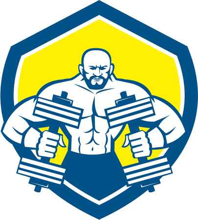 flexing: Illustration of a bodybuilder lifting dumbbell flexing muscles viewed from front set inside shield crest on isolated background done in retro style.
