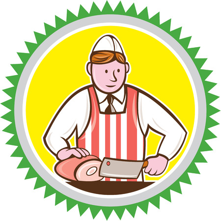 Illustration of a butcher cutter worker holding butcher knife chopping ham set inside rosette shape on isolated background done in cartoon style. Vector