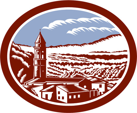 Illustration of church belfry tower in Tuscany, Italy with surrounding houses and landscape set inside oval done in retro woodcut style.