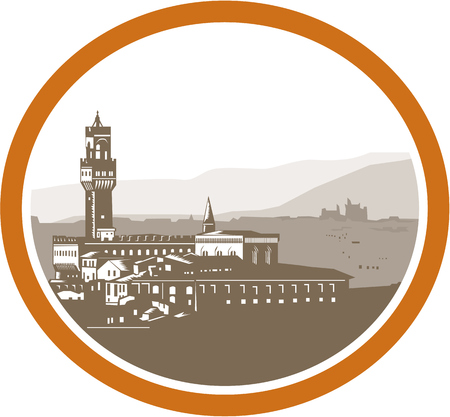 afar: Illustration of the Tower of Palazzo Vecchio in Florence , Firenze, Italy viewed from afar set inside oval done in retro woodcut style.