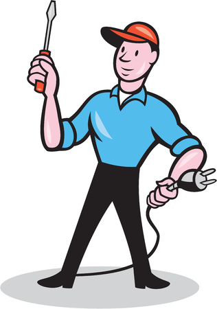 guy standing: Illustration of an electrician worker standing holding screwdriver and electric plug on isolated white background done in cartoon style.