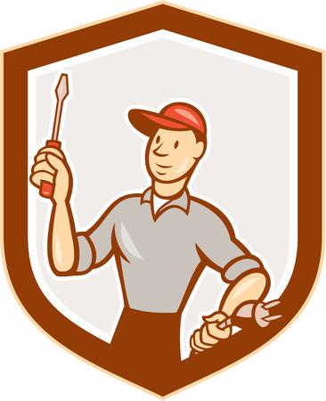 plug electric: Ilustraci�n de un destornillador tenencia trabajador electricista y un enchufe el�ctrico conjunto dentro cresta escudo sobre fondo blanco aislado hecho en estilo de dibujos animados. Vectores