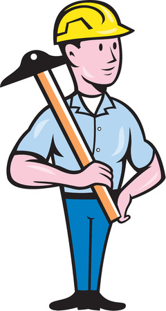 draftsman: Illustration of an engineer architect draftsman standing holding t-square on shoulder looking to the side on isolated white background done in cartoon style.