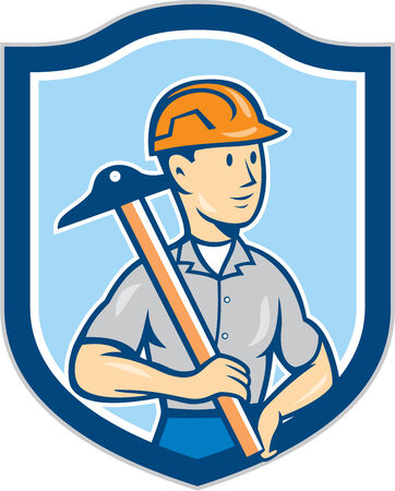 draftsman: Illustration of an engineer architect draftsman standing holding t-square on shoulder looking to the side set inside shield crest on isolated background done in cartoon style.  Illustration