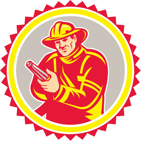 Illustration of a fireman fire fighter emergency worker holding aiming fire hose viewed from front set inside rosette shape on isolated background done in retro style.