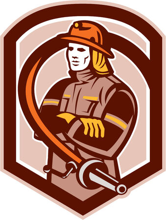fire fighter: Illustration of a fireman fire fighter emergency worker folding arms with fire hose set inside shield crest on isolated background done in retro style.