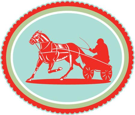 trotando: Ilustraci�n de una carrera de caballos y jinete arn�s conjunto dentro de la forma de roseta ovalada en el fondo aislado hecho en estilo retro. Vectores