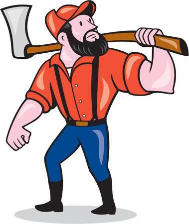 sawyer: Illustration of a lumberjack sawyer forester standing holding an axe on shoulder looking up to side on isolated white background done in cartoon style.  Illustration
