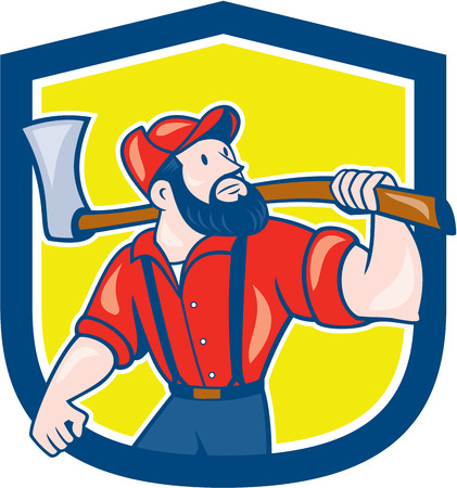 sawyer: Illustration of a lumberjack sawyer forester standing holding an axe on shoulder looking up to side set inside shield crest on isolated background done in cartoon style.