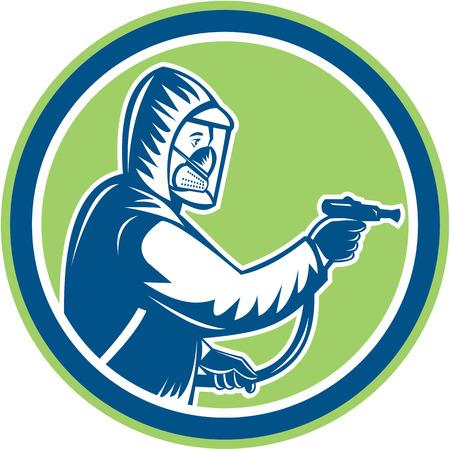 pesticida: Ilustraci�n de exterminador de control de plagas vista lateral rociado establece dentro del c�rculo en el fondo aislado hecho en estilo retro.