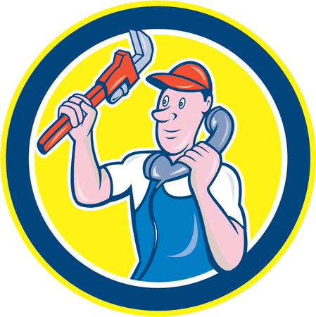 telephone cartoon: Illustration of a plumber holding monkey wrench and telephone talking set inside circle done in cartoon style on isolated background.